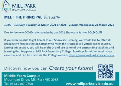 Mill Park meet the principal via Zoom