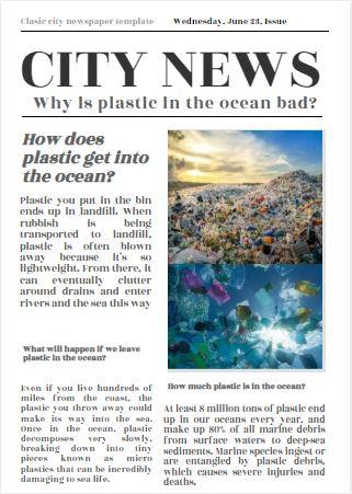 Water Pollution Newspaper